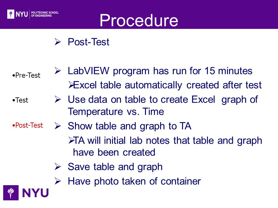 Procedure Post-Test LabVIEW program has run for 15 minutes