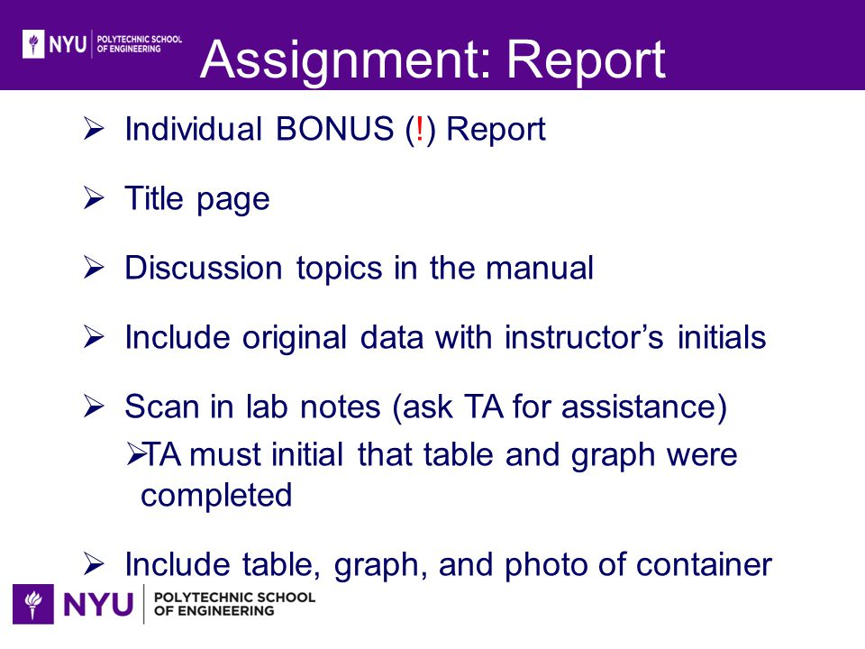 Assignment: Report Individual BONUS (!) Report Title page