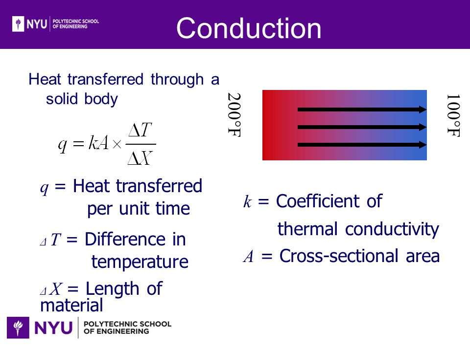 Conduction 100°F 200°F k = Coefficient of thermal conductivity