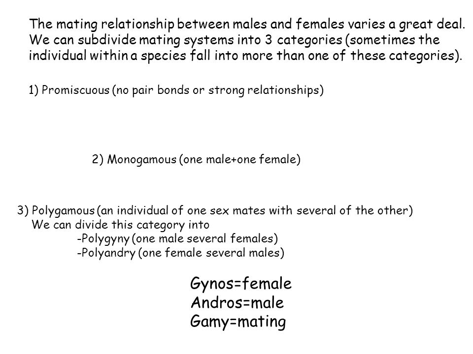Gynos=female Andros=male Gamy=mating