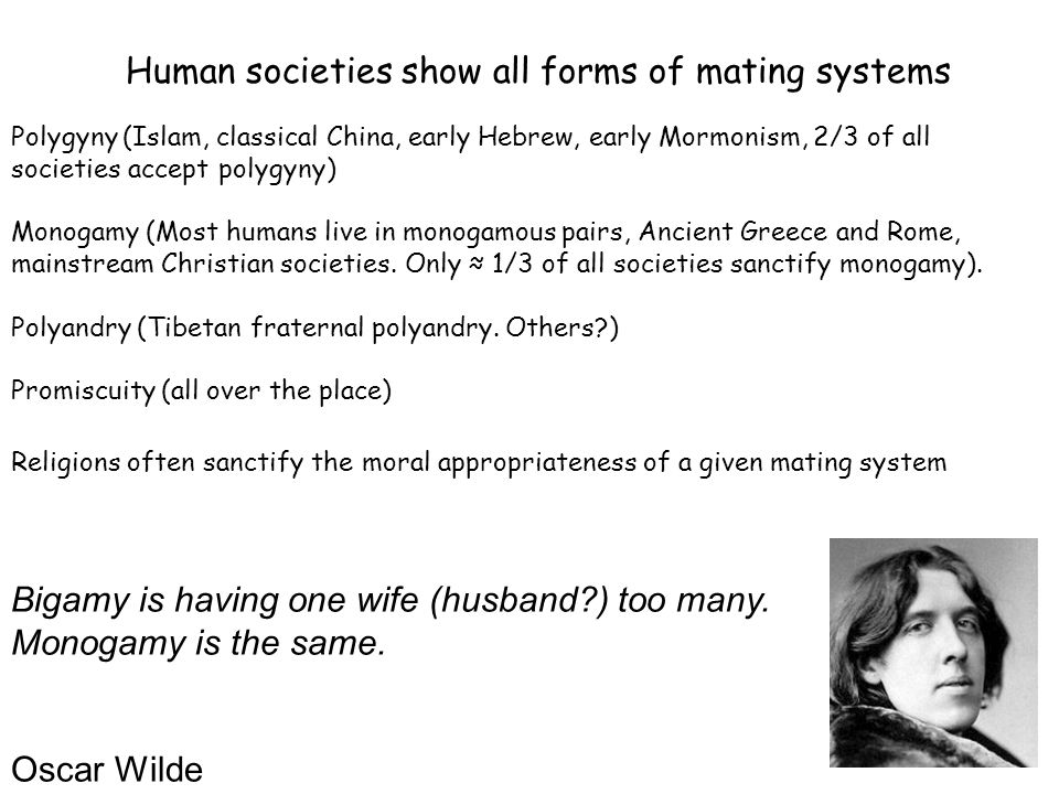 Human societies show all forms of mating systems
