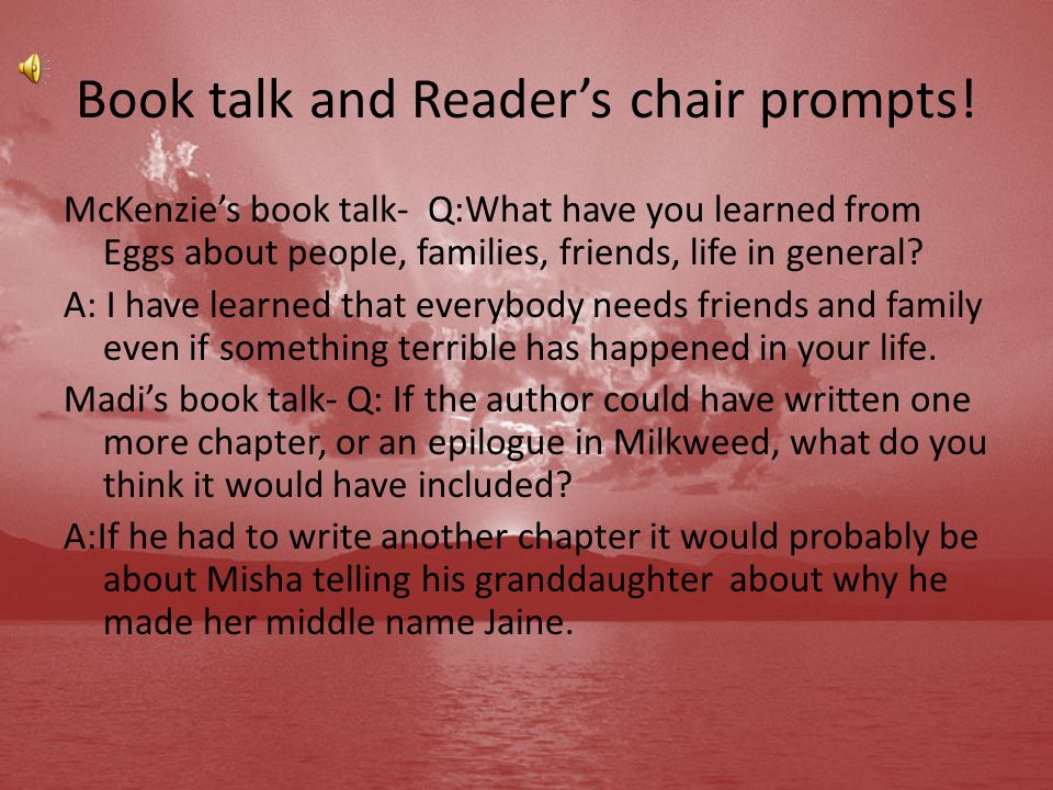 Book talk and Reader's chair prompts!