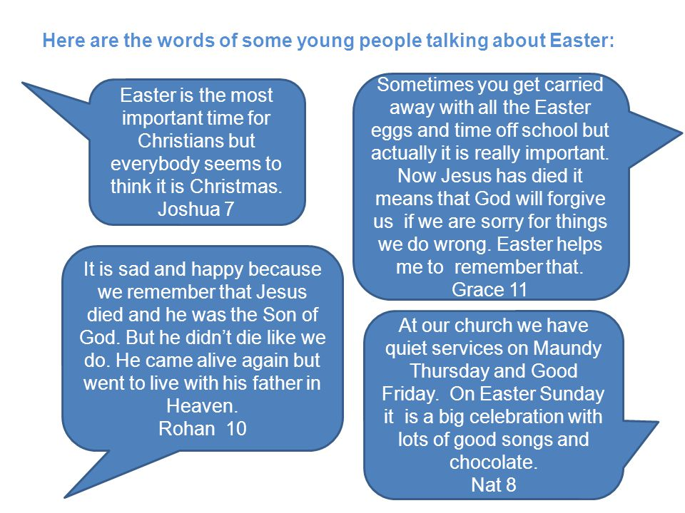 Here are the words of some young people talking about Easter: