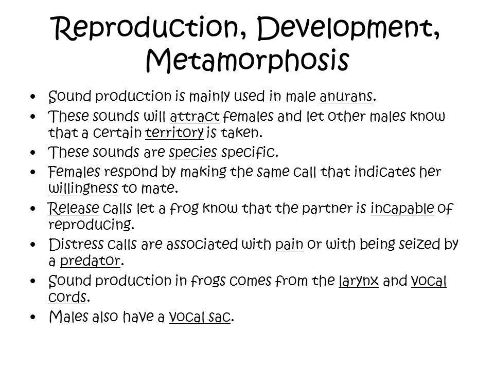Reproduction, Development, Metamorphosis