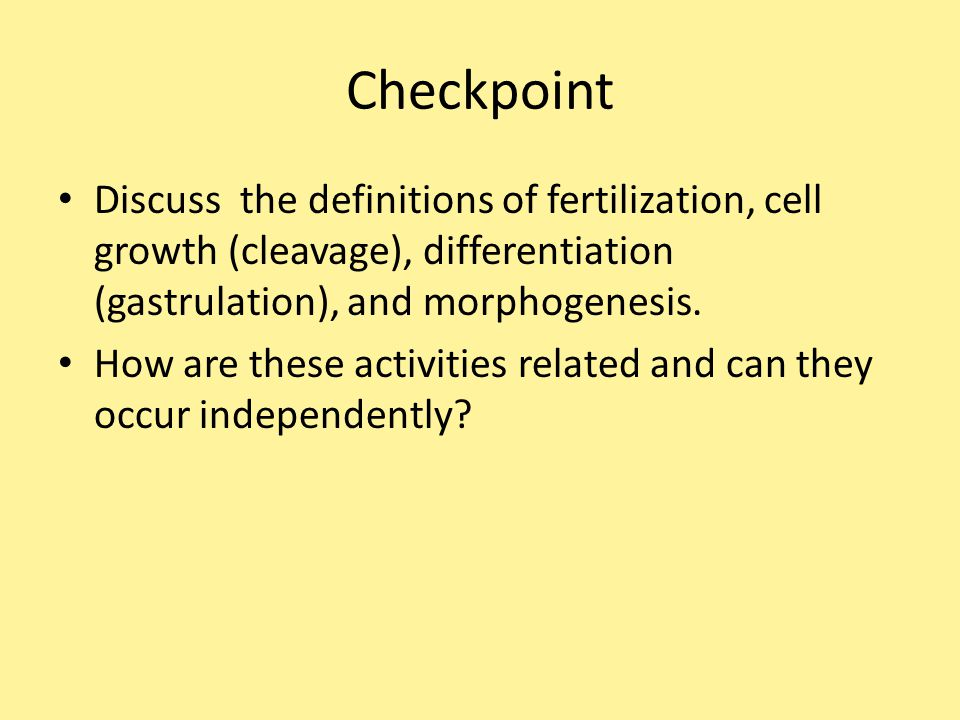 Checkpoint Discuss the definitions of fertilization, cell growth (cleavage), differentiation (gastrulation), and morphogenesis.