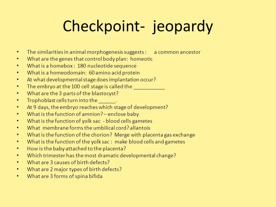 Checkpoint- jeopardy The similarities in animal morphogenesis suggests : a common ancestor.