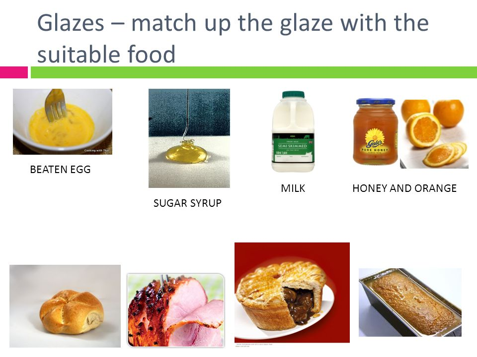 Glazes – match up the glaze with the suitable food