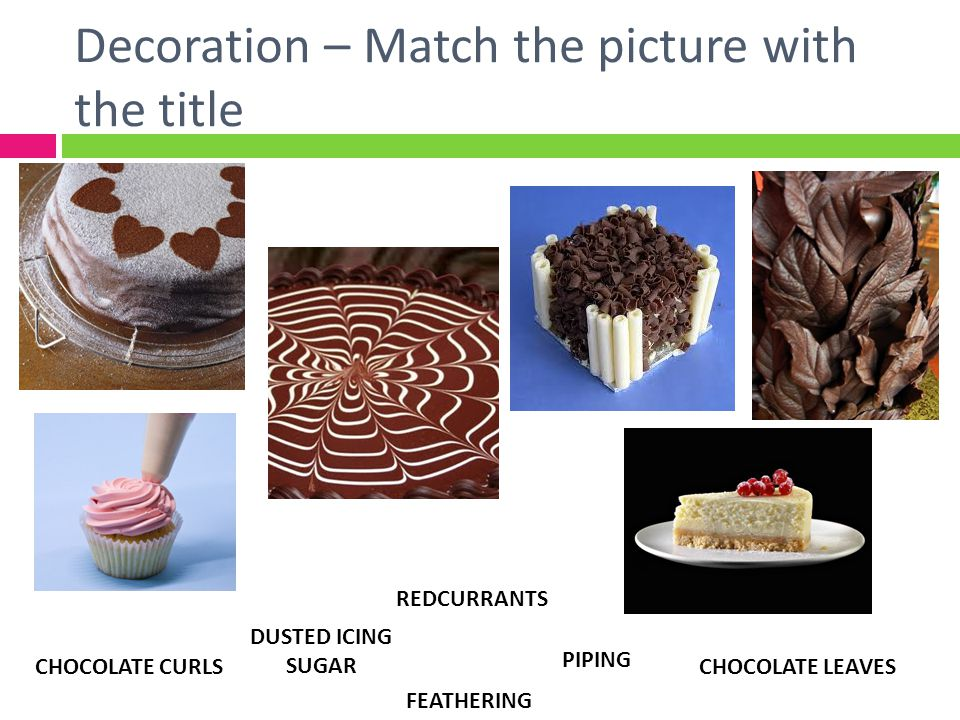 Decoration – Match the picture with the title