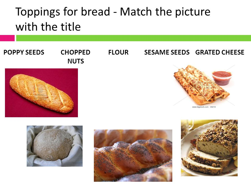 Toppings for bread - Match the picture with the title