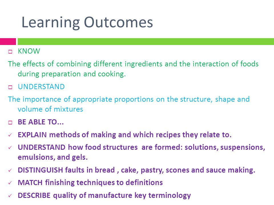 Learning Outcomes KNOW