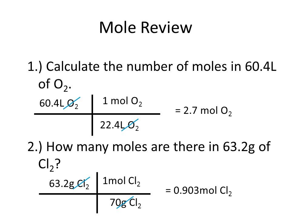 Mole Review 1.) Calculate the number of moles in 60.4L of O2. 2.) How many moles are there in 63.2g of Cl2