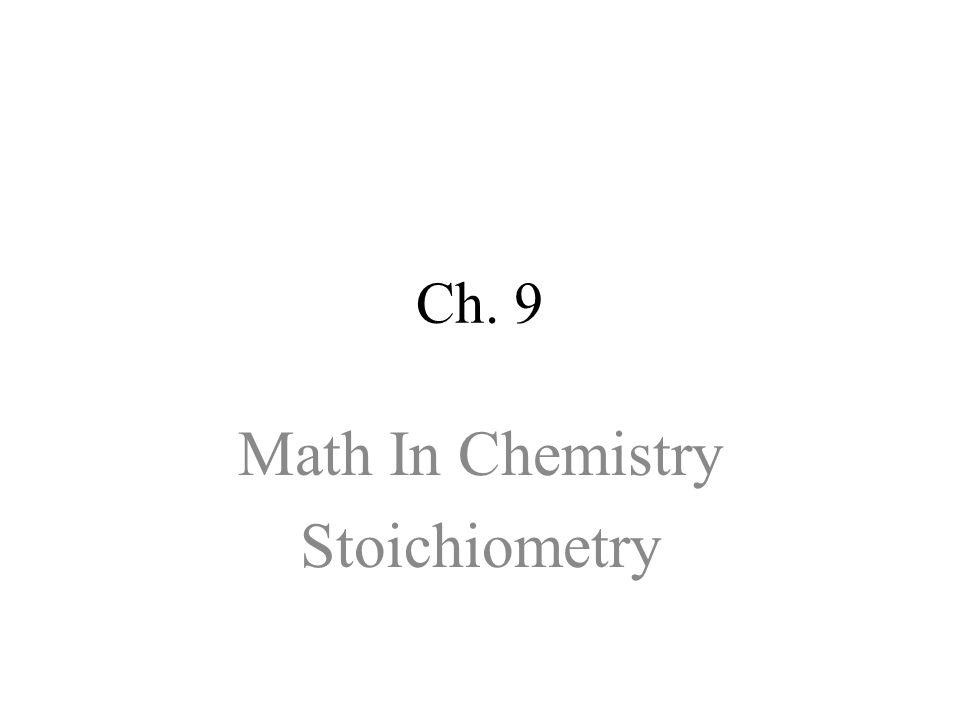 Math In Chemistry Stoichiometry