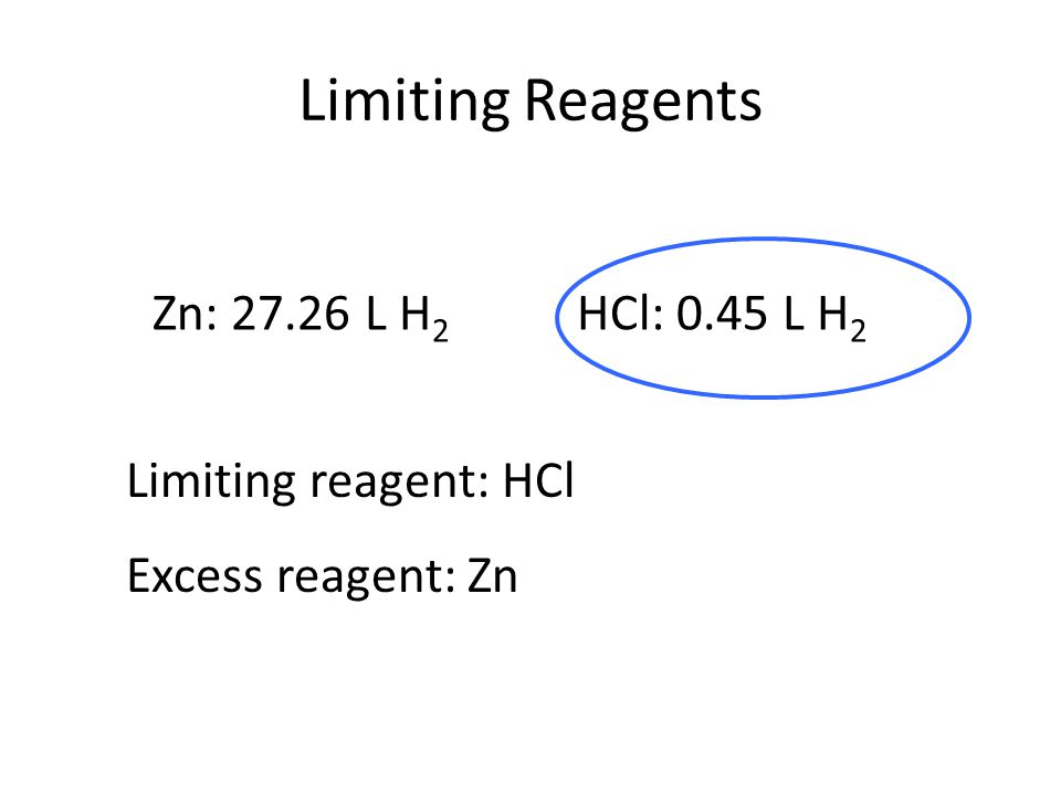 Limiting Reagents Zn: 27.26 L H2 HCl: 0.45 L H2 Limiting reagent: HCl
