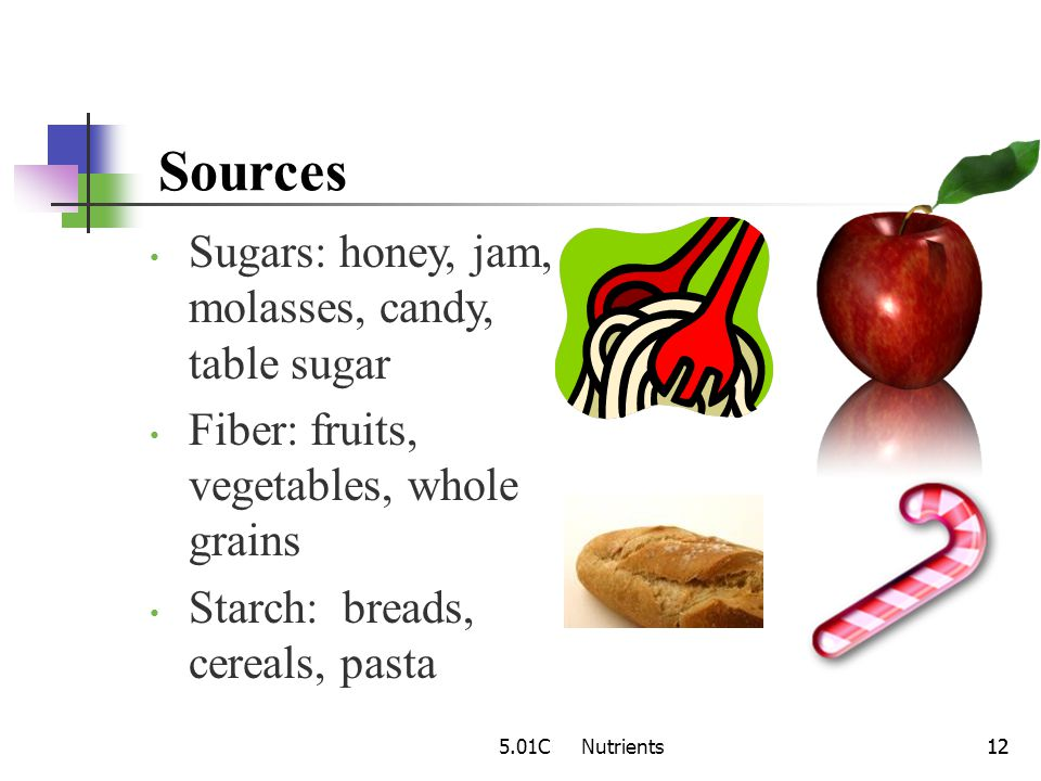 Sources Sugars: honey, jam, molasses, candy, table sugar