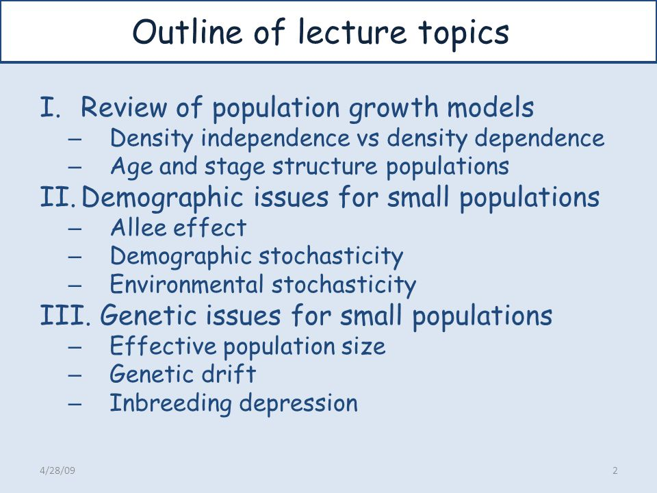 Outline of lecture topics