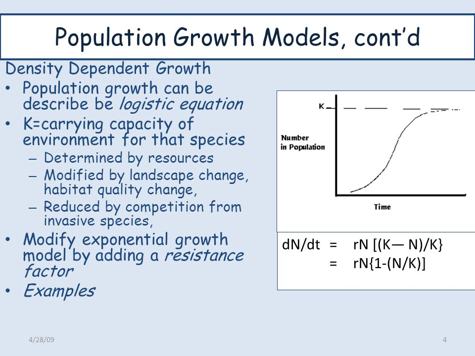 Population Growth Models, cont'd