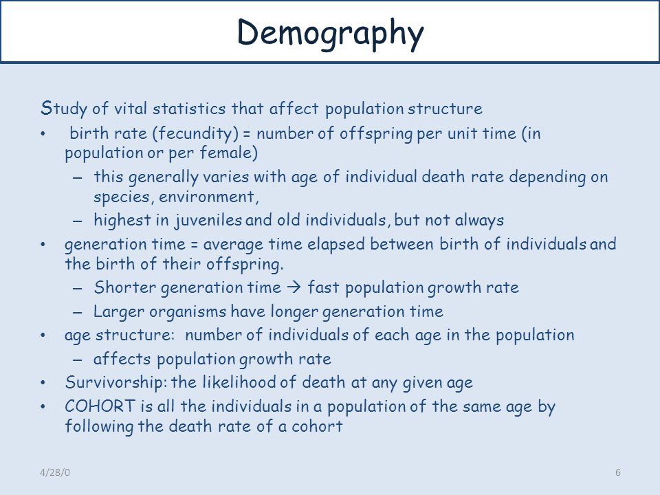 Demography Study of vital statistics that affect population structure