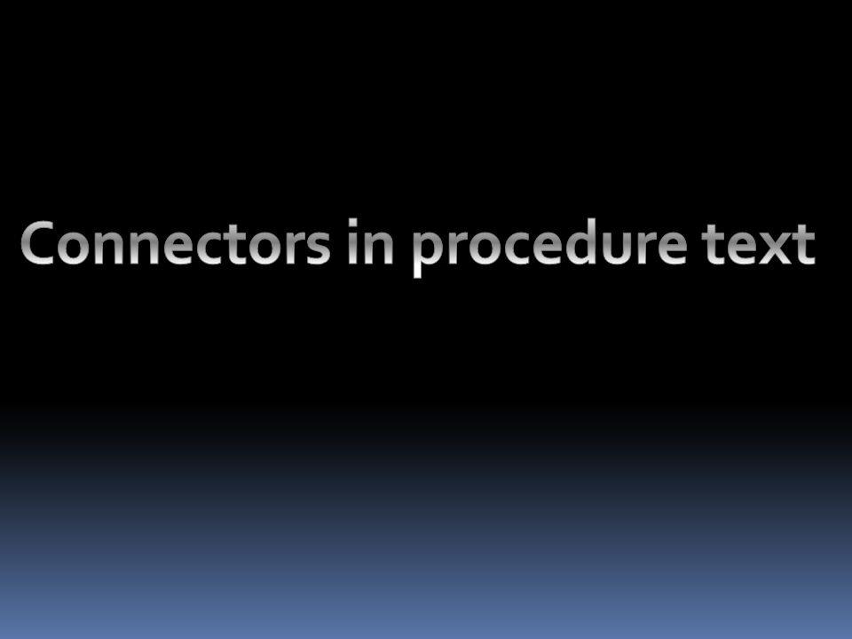 Connectors in procedure text