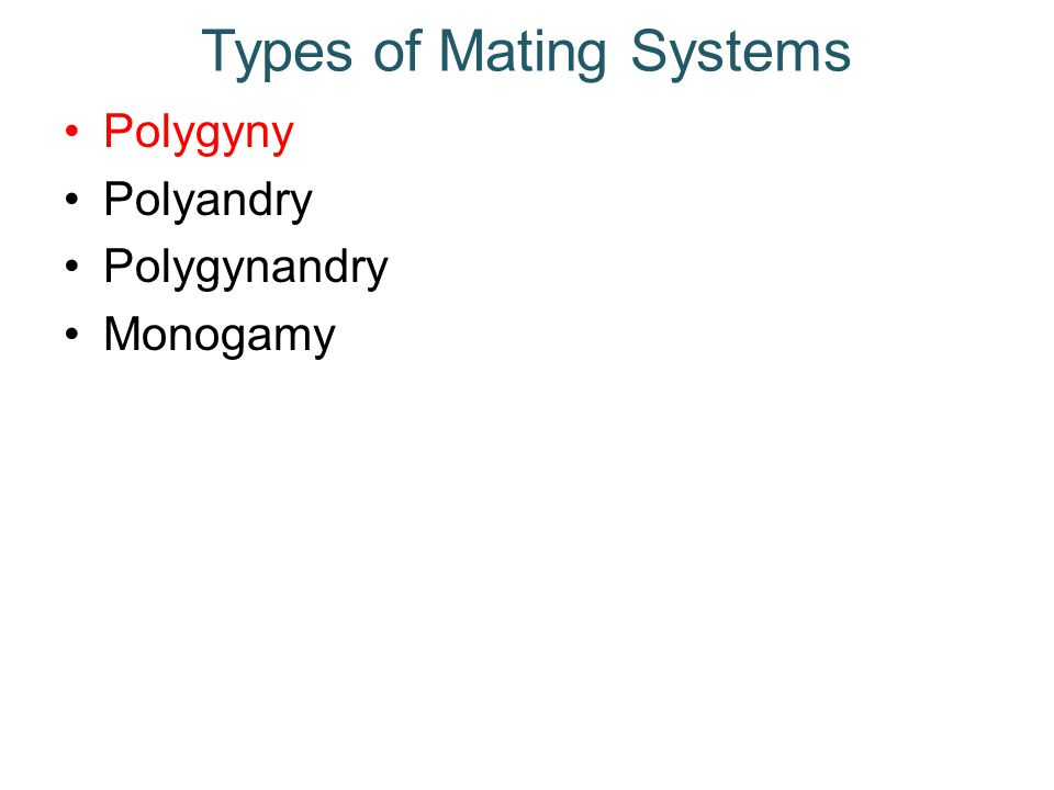 Types of Mating Systems