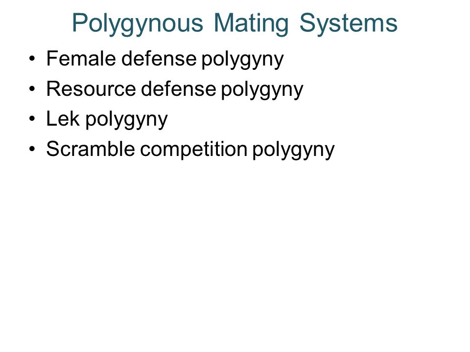 Polygynous Mating Systems