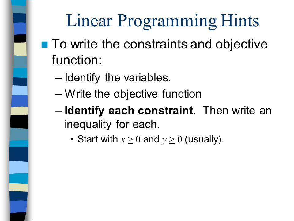 Linear Programming Hints
