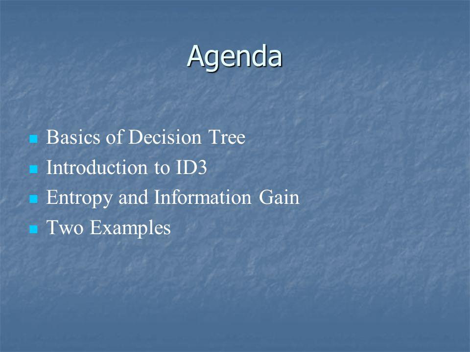 Agenda Basics of Decision Tree Introduction to ID3