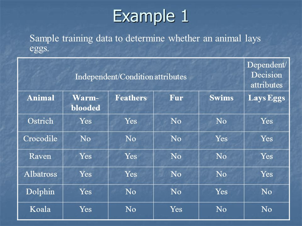 Example 1 Sample training data to determine whether an animal lays eggs. Independent/Condition attributes.