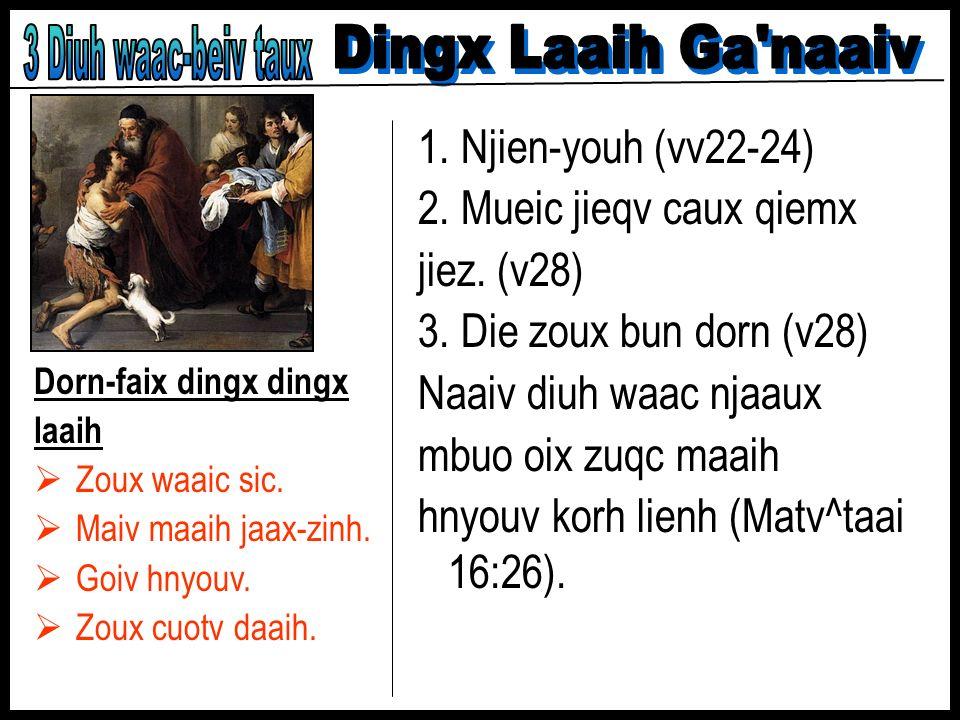 3 Diuh waac-beiv taux Dingx Laaih Ga naaiv 1. Njien-youh (vv22-24)