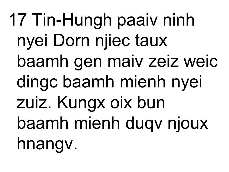17 Tin-Hungh paaiv ninh nyei Dorn njiec taux baamh gen maiv zeiz weic dingc baamh mienh nyei zuiz.