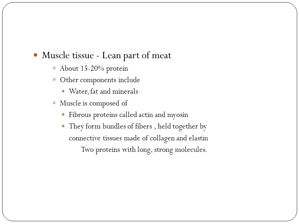 Muscle tissue - Lean part of meat