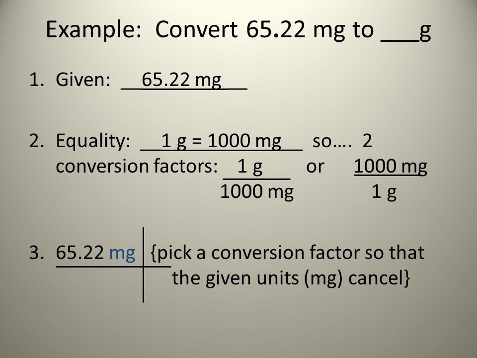 Example: Convert 65.22 mg to ___g