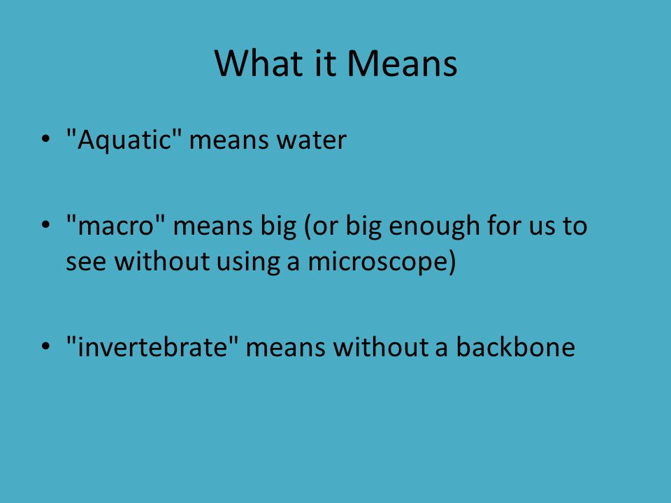 What it Means Aquatic means water