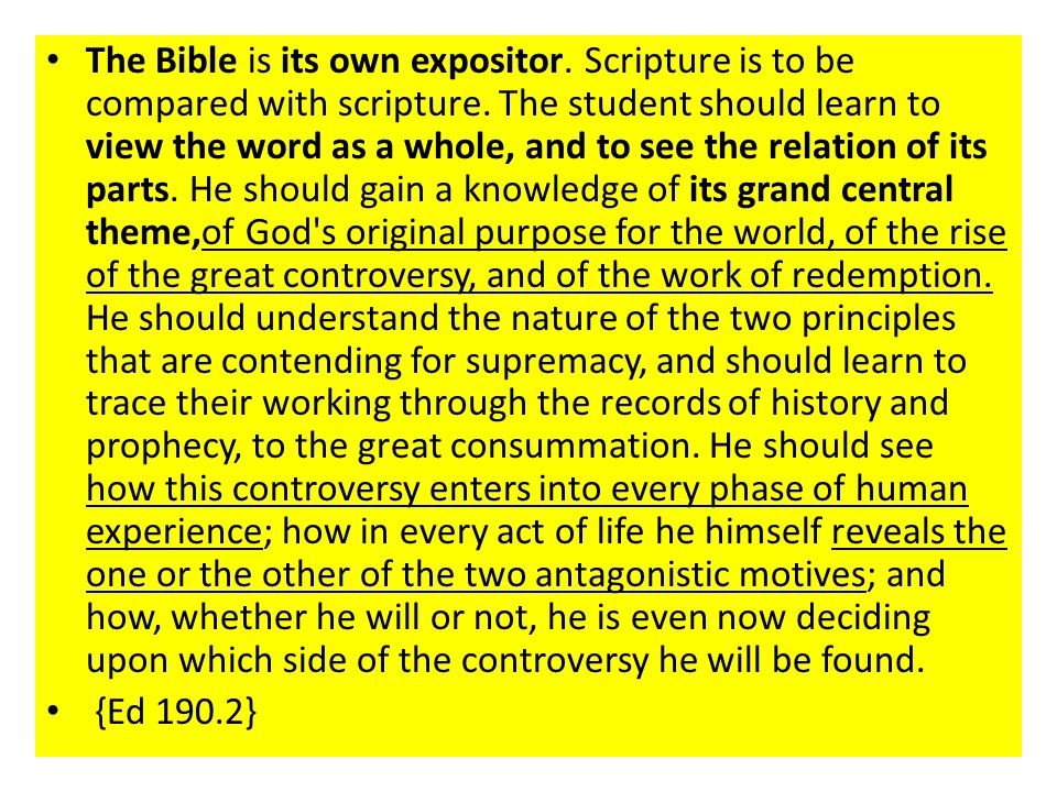 The Bible is its own expositor