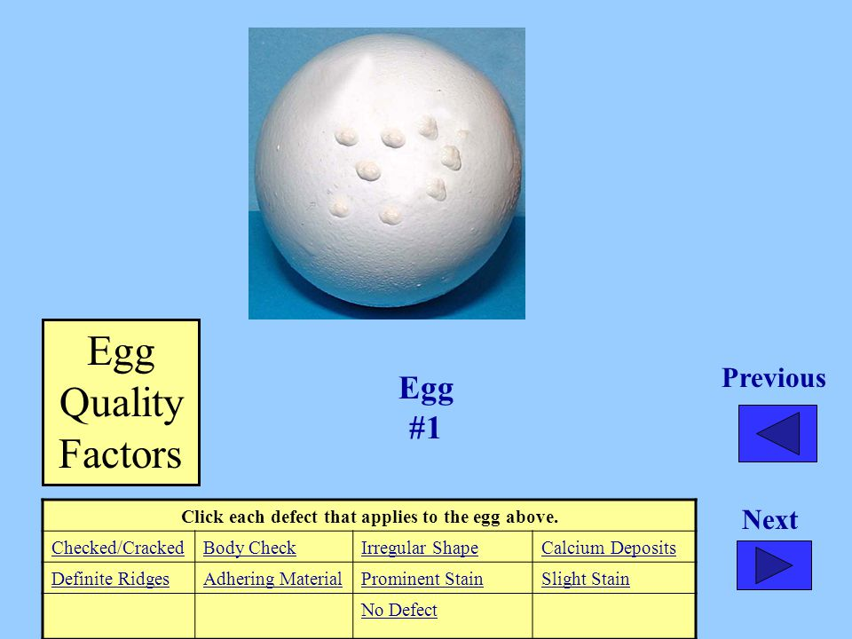 Click each defect that applies to the egg above.