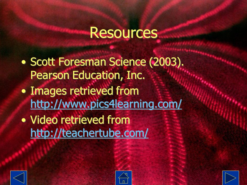 Resources Scott Foresman Science (2003). Pearson Education, Inc.