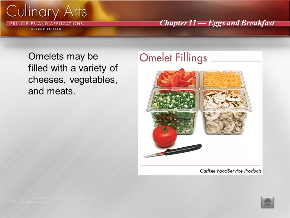 Omelets may be filled with a variety of cheeses, vegetables, and meats.