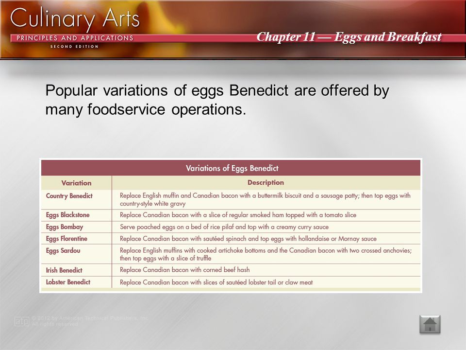 Popular variations of eggs Benedict are offered by many foodservice operations.