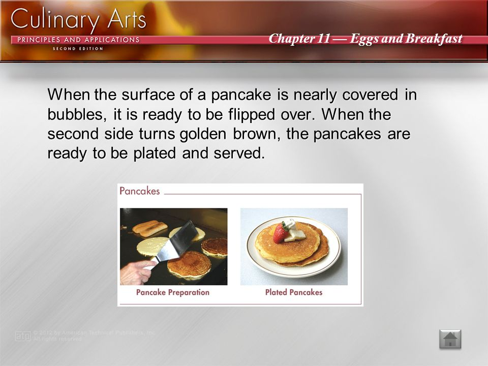 When the surface of a pancake is nearly covered in bubbles, it is ready to be flipped over. When the second side turns golden brown, the pancakes are ready to be plated and served.