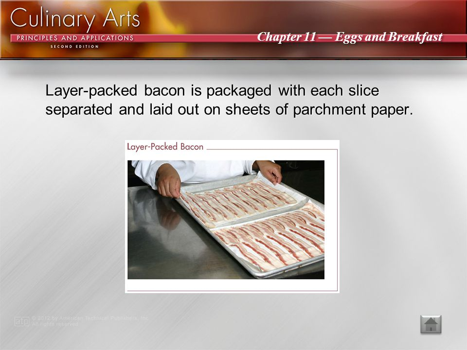 Layer-packed bacon is packaged with each slice separated and laid out on sheets of parchment paper.