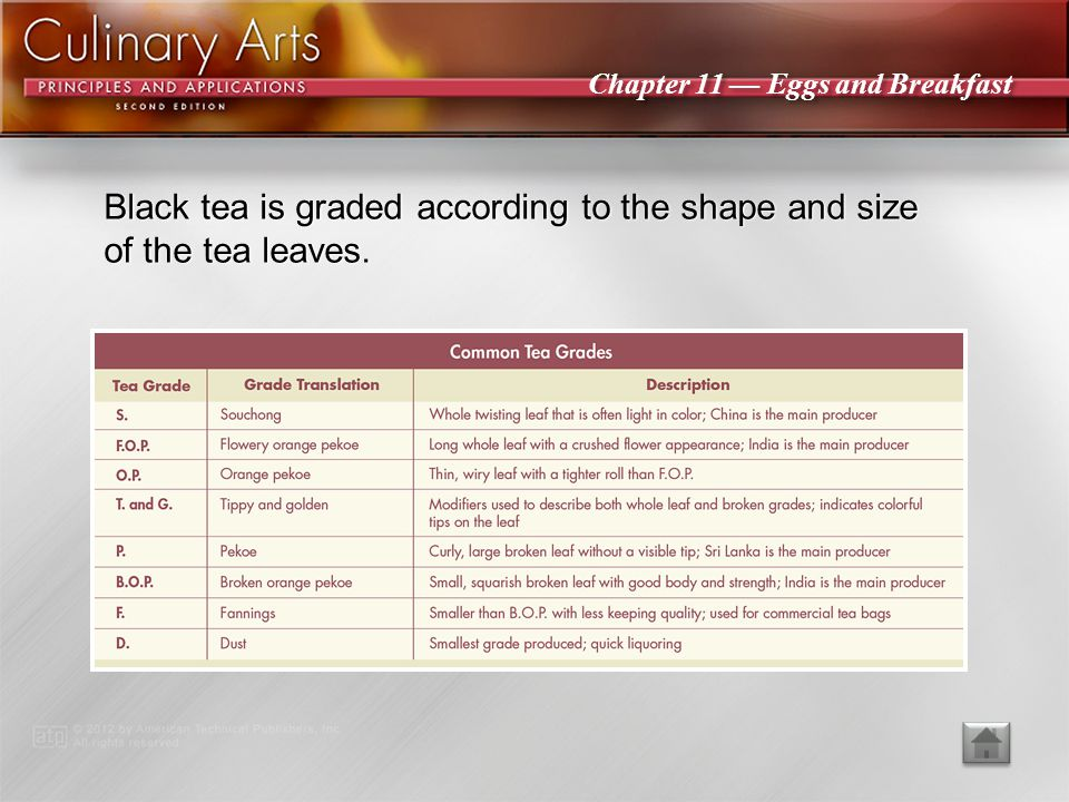 Black tea is graded according to the shape and size of the tea leaves.
