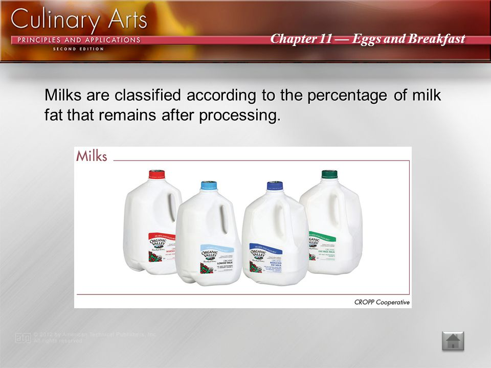 Milks are classified according to the percentage of milk fat that remains after processing.