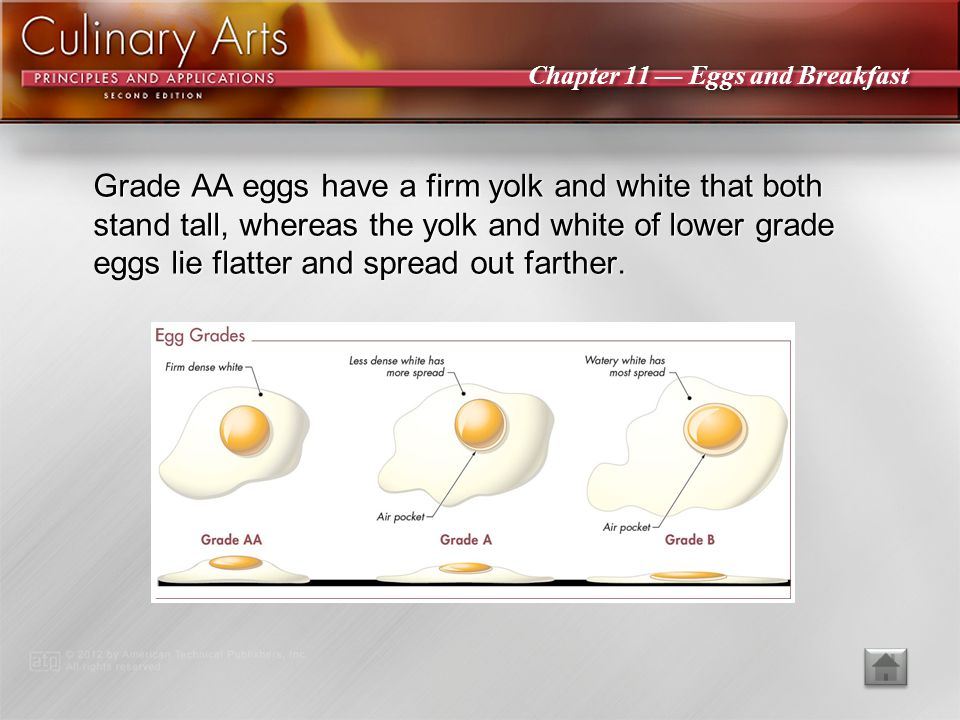 Grade AA eggs have a firm yolk and white that both stand tall, whereas the yolk and white of lower grade eggs lie flatter and spread out farther.