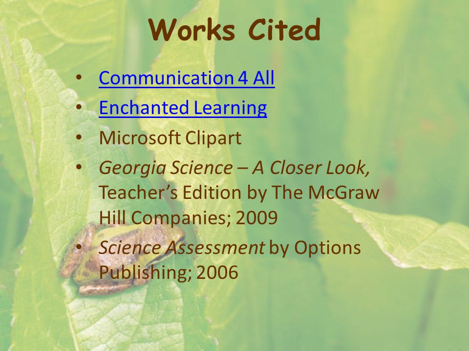 Works Cited Communication 4 All Enchanted Learning Microsoft Clipart