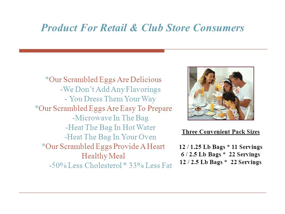 Product For Retail & Club Store Consumers Three Convenient Pack Sizes