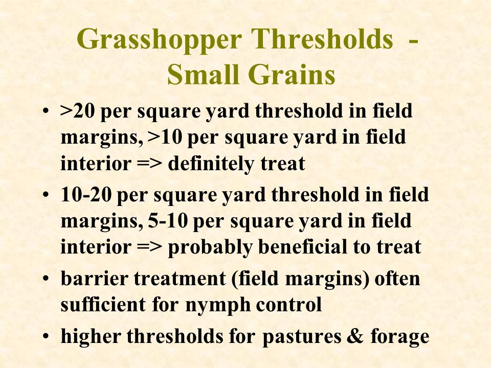 Grasshopper Thresholds - Small Grains