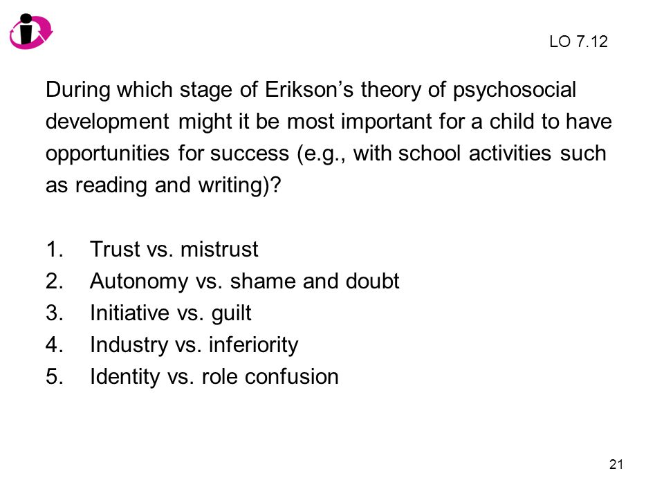 During which stage of Erikson's theory of psychosocial