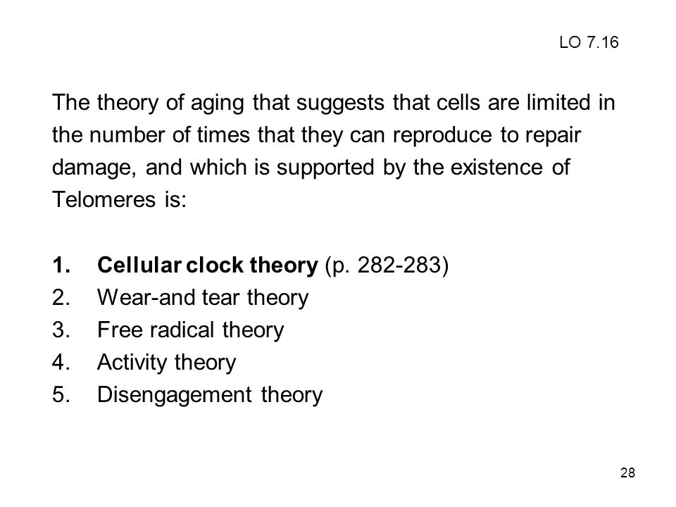 The theory of aging that suggests that cells are limited in