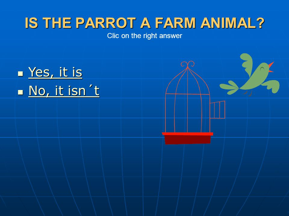 IS THE PARROT A FARM ANIMAL Clic on the right answer