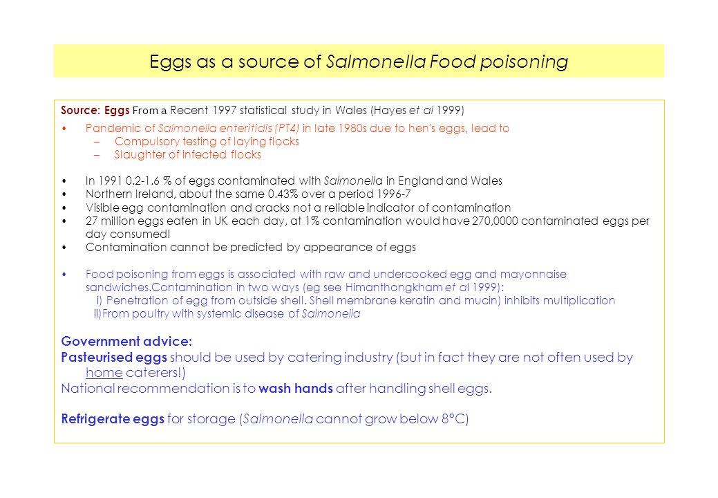 Eggs as a source of Salmonella Food poisoning