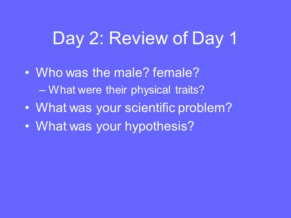 Day 2: Review of Day 1 Who was the male female